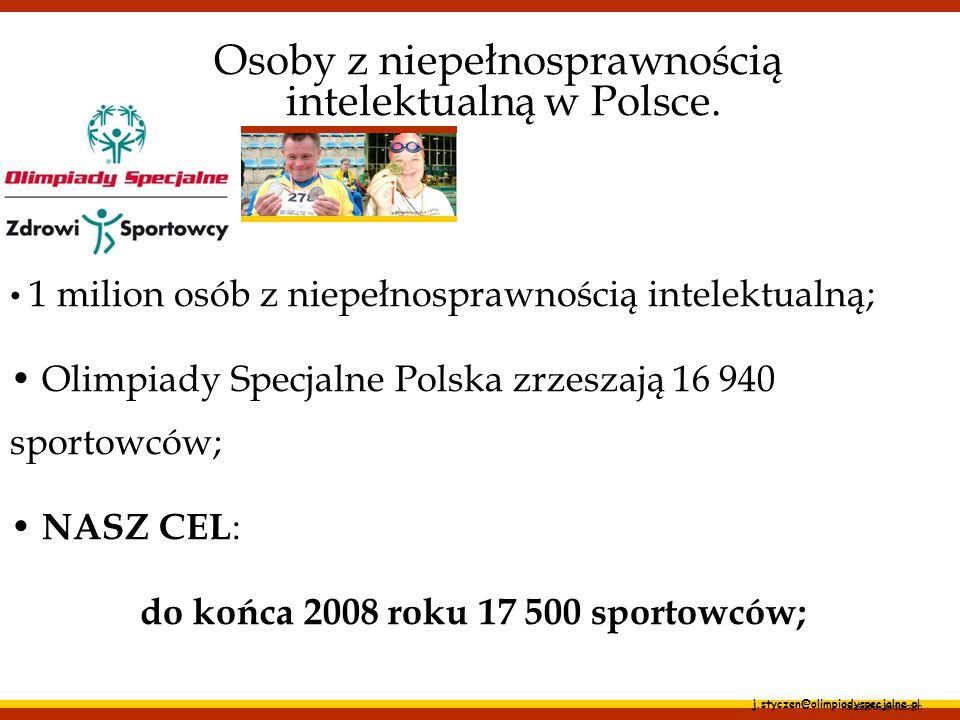 j.styczen@olimpiadyspecjalne.pl Osoby z niepełnosprawnością intelektualną w Polsce. 1 milion osób z niepełnosprawnością intelektualną; Olimpiady Specj