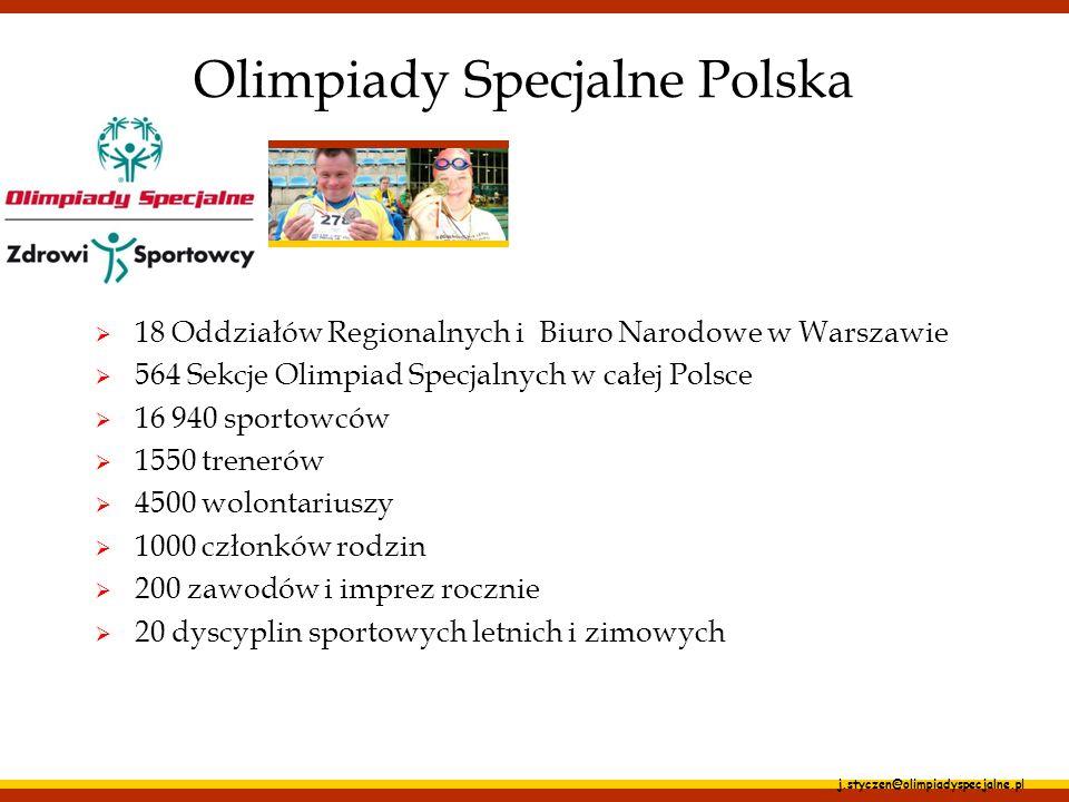 j.styczen@olimpiadyspecjalne.pl Główne założenia Programu wszystkie badania przeprowadzają profesjonaliści; systematyczna ocena stanu zdrowia sportowców z różnym stopniem niepełnosprawności intelektualnej edukacja medyczna sportowców, ich rodzin, trenerów, opiekunów, wolontariuszy; szkolenia lekarzy, fizjoterapeutów, dietetyków do przeprowadzania specjalistycznych badań;
