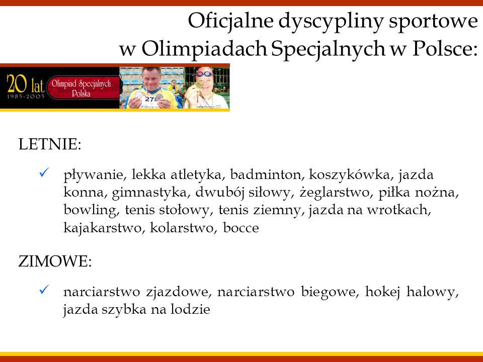 Oficjalne dyscypliny sportowe w Olimpiadach Specjalnych w Polsce: LETNIE: pływanie, lekka atletyka, badminton, koszykówka, jazda konna, gimnastyka, dw