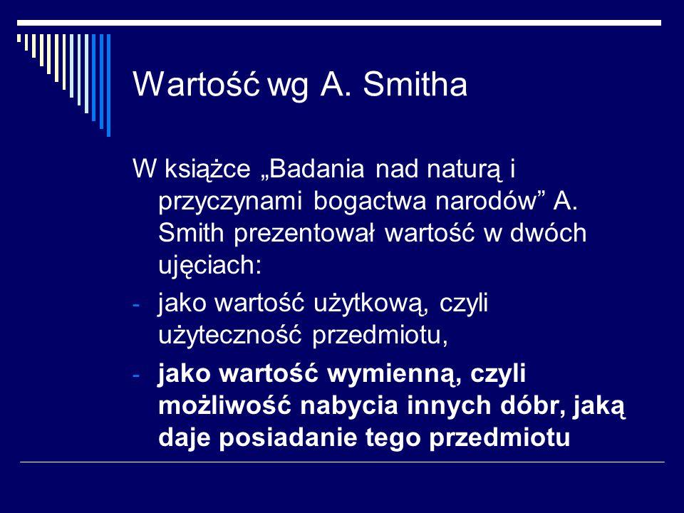 """Wartość wg A.Smitha W książce """"Badania nad naturą i przyczynami bogactwa narodów A."""
