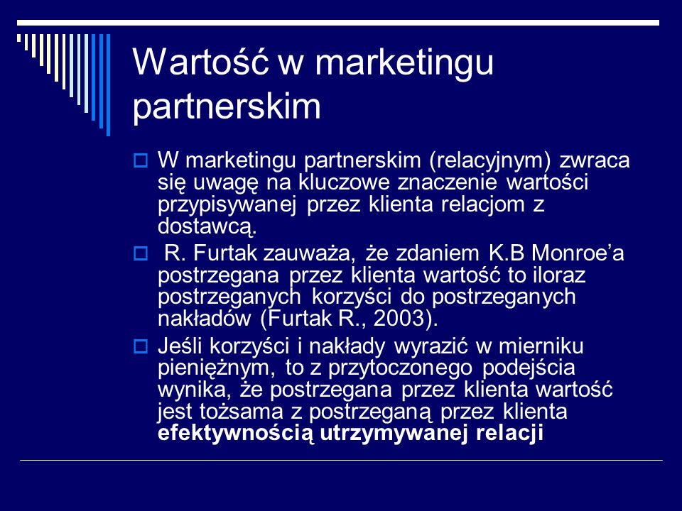 Wartość w marketingu partnerskim  W marketingu partnerskim (relacyjnym) zwraca się uwagę na kluczowe znaczenie wartości przypisywanej przez klienta relacjom z dostawcą.
