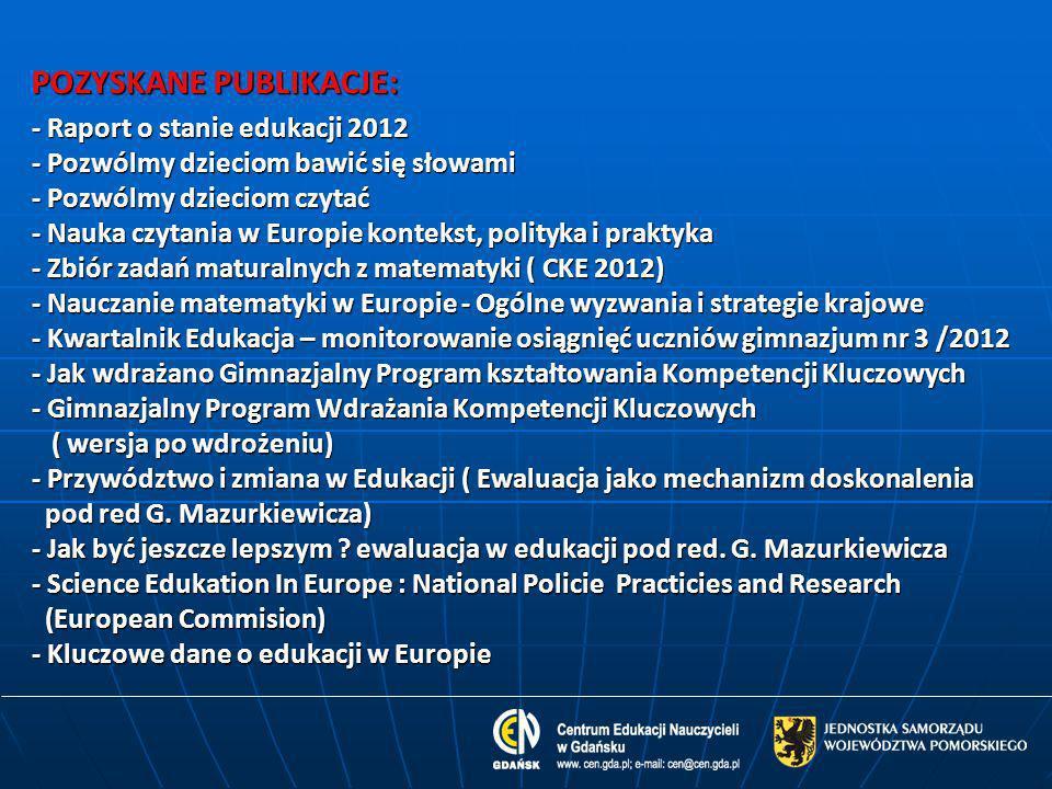 POZYSKANE PUBLIKACJE: - Raport o stanie edukacji 2012 - Pozwólmy dzieciom bawić się słowami - Pozwólmy dzieciom czytać - Nauka czytania w Europie kont