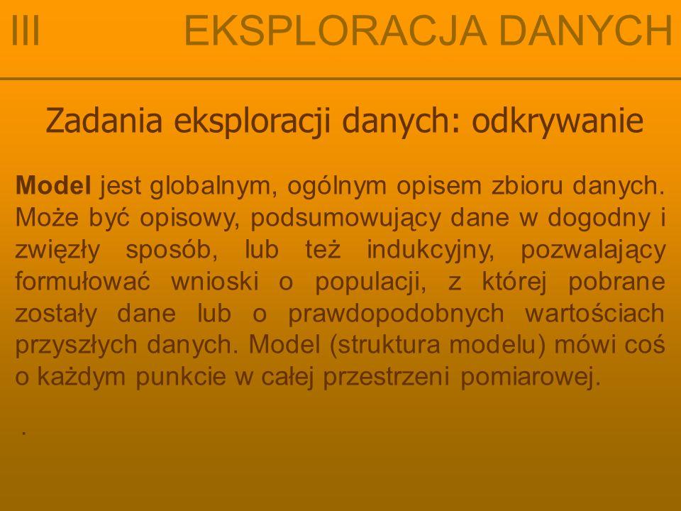 Zadania eksploracji danych: odkrywanie III EKSPLORACJA DANYCH Wzorzec jest lokalną cechą danych, obowiązującą być może jedynie dla kilku rekordów lub kilku zmiennych (lub obudwu tych rzeczy).