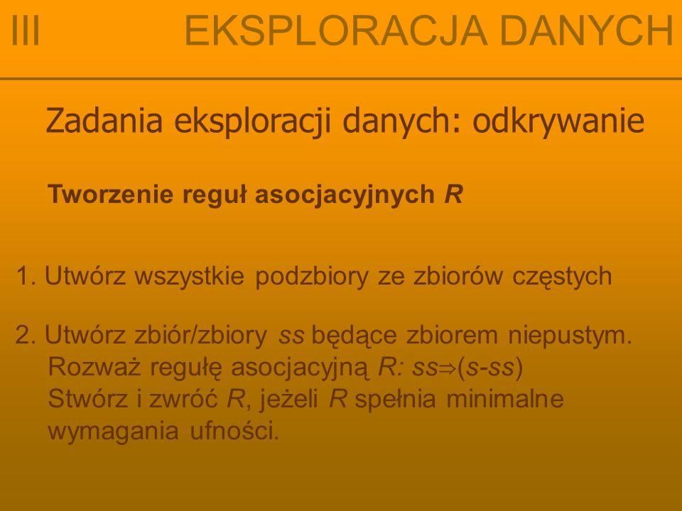 Zadania eksploracji danych: odkrywanie III EKSPLORACJA DANYCH Tworzenie reguł asocjacyjnych R 1.