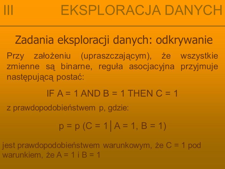 Zadania eksploracji danych: odkrywanie III EKSPLORACJA DANYCH Przy założeniu (upraszczającym), że wszystkie zmienne są binarne, reguła asocjacyjna przyjmuje następującą postać: IF A = 1 AND B = 1 THEN C = 1 z prawdopodobieństwem p, gdzie: p = p (C = 1│A = 1, B = 1) jest prawdopodobieństwem warunkowym, że C = 1 pod warunkiem, że A = 1 i B = 1