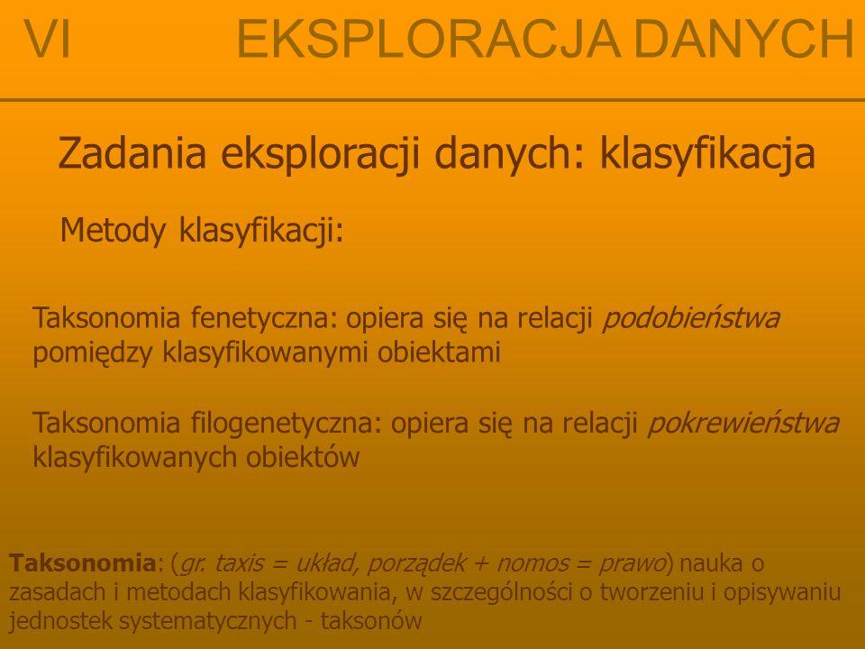 VI EKSPLORACJA DANYCH Zadania eksploracji danych: klasyfikacja Metody klasyfikacji: Taksonomia: (gr. taxis = układ, porządek + nomos = prawo) nauka o