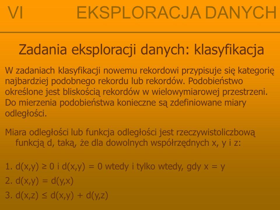 """VI EKSPLORACJA DANYCH Zadania eksploracji danych: klasyfikacja Metryka euklidesowa Naturalna, """"zwykła odległość punktów na prostej, płaszczyźnie, czy też dowolnej euklidesowej przestrzeni R n w przypadku, gdy n = 1 w przypadku ogólnym, gdy x, y  R n oraz x = ( x 1, x 2, …, x n ) i y = ( y 1, y 2, …, y n ) d e (x,y) = │y - x│ d e (x,y) = √(y 1 – x 1 ) 2 + (y 2 – x 2 ) 2 + … + (y n – x n ) 2"""