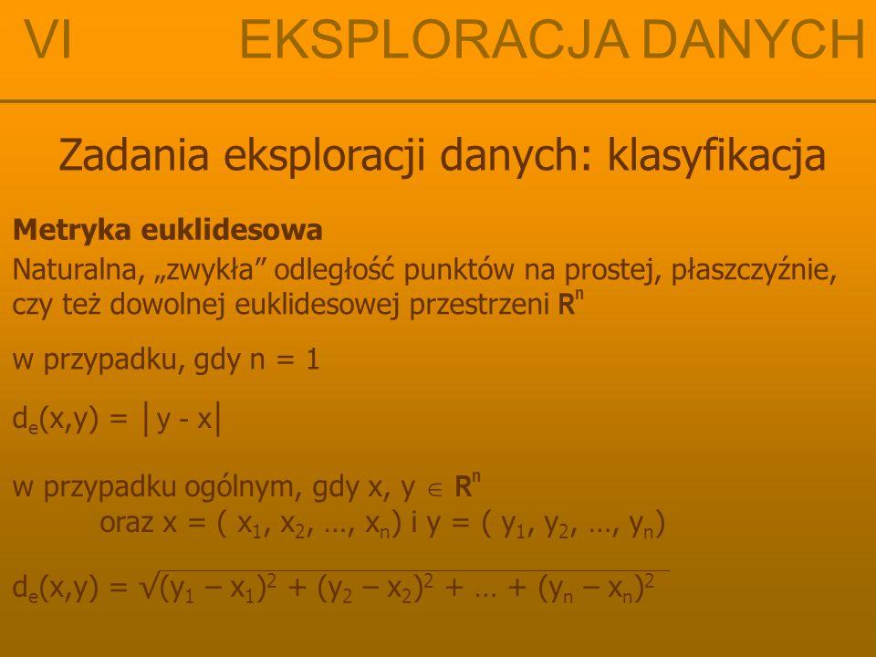 """VI EKSPLORACJA DANYCH Zadania eksploracji danych: klasyfikacja Metryka euklidesowa Naturalna, """"zwykła"""" odległość punktów na prostej, płaszczyźnie, czy"""