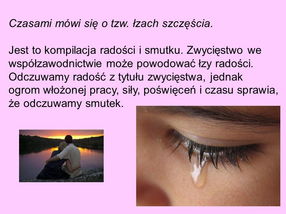 Czasami mówi się o tzw.łzach szczęścia. Jest to kompilacja radości i smutku.