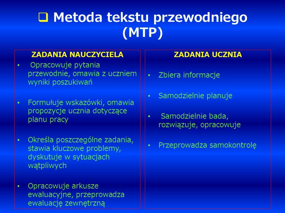  Metoda tekstu przewodniego (MTP) ZADANIA NAUCZYCIELA Opracowuje pytania przewodnie, omawia z uczniem wyniki poszukiwań Formułuje wskazówki, omawia p