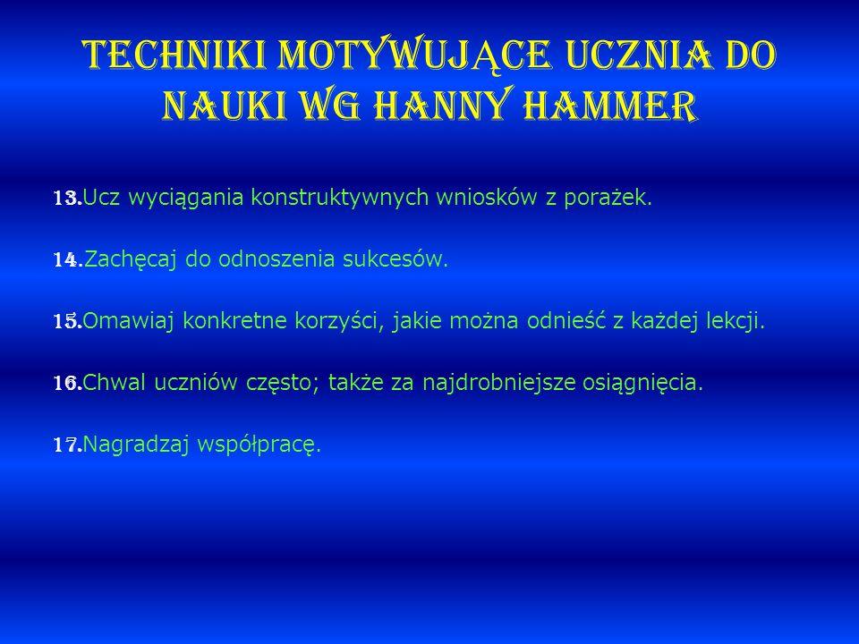 TECHNIKI MOTYWUJ Ą CE UCZNIA DO NAUKI wg Hanny Hammer 13. Ucz wyciągania konstruktywnych wniosków z porażek. 14.Zachęcaj do odnoszenia sukcesów. 15. O