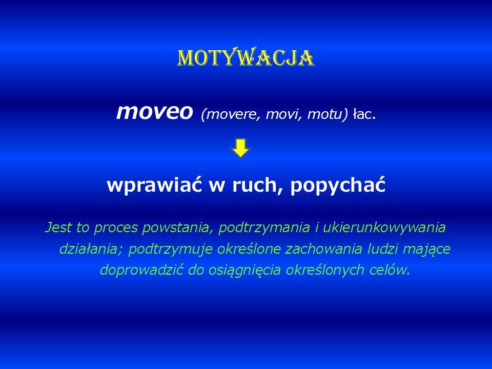 """"""" MOTYWACJA moveo (movere, movi, motu) łac. wprawiać w ruch, popychać Jest to proces powstania, podtrzymania i ukierunkowywania działania; podtrzymuje"""