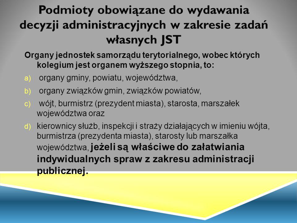 Podmioty obowiązane do wydawania decyzji administracyjnych w zakresie zadań własnych JST Organy jednostek samorządu terytorialnego, wobec których kole