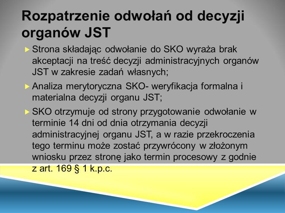 Rozpatrzenie odwołań od decyzji organów JST  Strona składając odwołanie do SKO wyraża brak akceptacji na treść decyzji administracyjnych organów JST