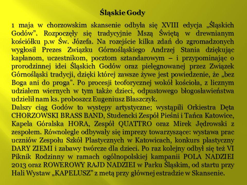 """Śląskie Gody 1 maja w chorzowskim skansenie odbyła się XVIII edycja """"Śląskich Godów"""". Rozpoczęły się tradycyjnie Mszą Świętą w drewnianym kościółku p."""