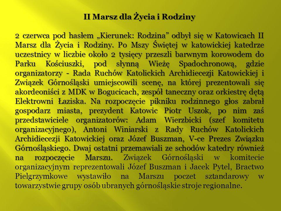 """II Marsz dla Życia i Rodziny 2 czerwca pod hasłem """"Kierunek: Rodzina"""" odbył się w Katowicach II Marsz dla Życia i Rodziny. Po Mszy Świętej w katowicki"""