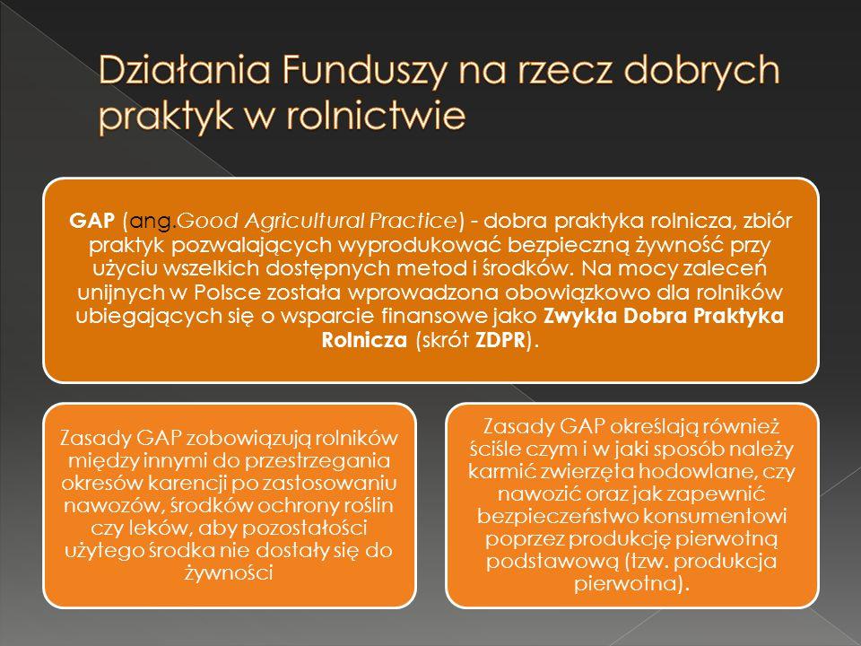 GAP (ang.Good Agricultural Practice) - dobra praktyka rolnicza, zbiór praktyk pozwalających wyprodukować bezpieczną żywność przy użyciu wszelkich dost