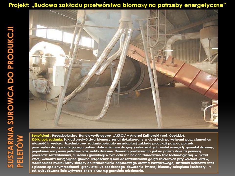 """Beneficjent : Przedsiębiorstwo Handlowo-Usługowe """"AKROL"""" – Andrzej Kalinowski (woj. Opolskie). Krótki opis zadania: Zakład przetwórstwa biomasy został"""