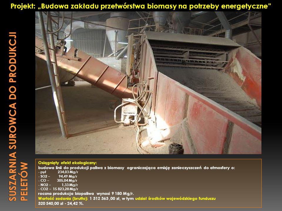 Osiągnięty efekt ekologiczny: budowa linii do produkcji paliwa z biomasy ograniczająca emisję zanieczyszczeń do atmosfery o: - pył 234,03 Mg/r - SO2 –