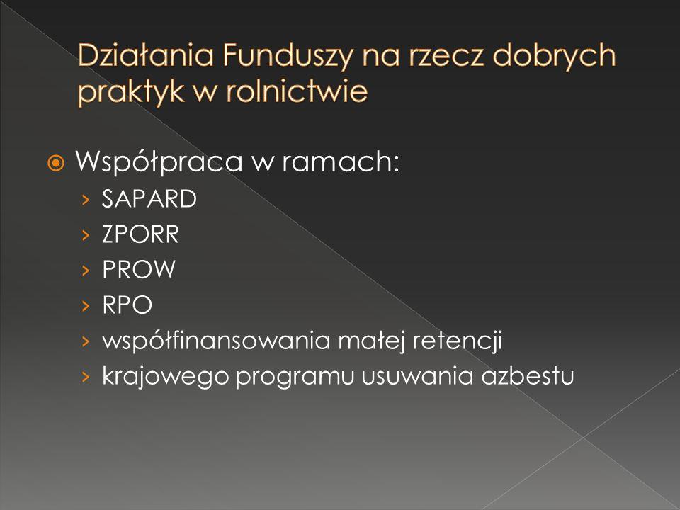  Współpraca w ramach: › SAPARD › ZPORR › PROW › RPO › współfinansowania małej retencji › krajowego programu usuwania azbestu