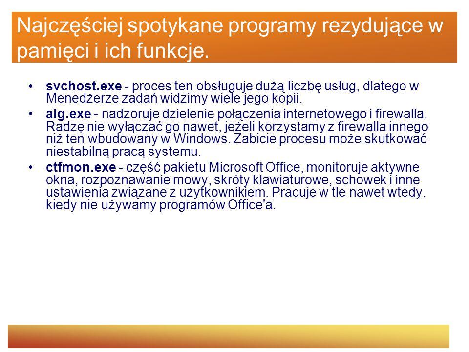 Najczęściej spotykane programy rezydujące w pamięci i ich funkcje. svchost.exe - proces ten obsługuje dużą liczbę usług, dlatego w Menedżerze zadań wi