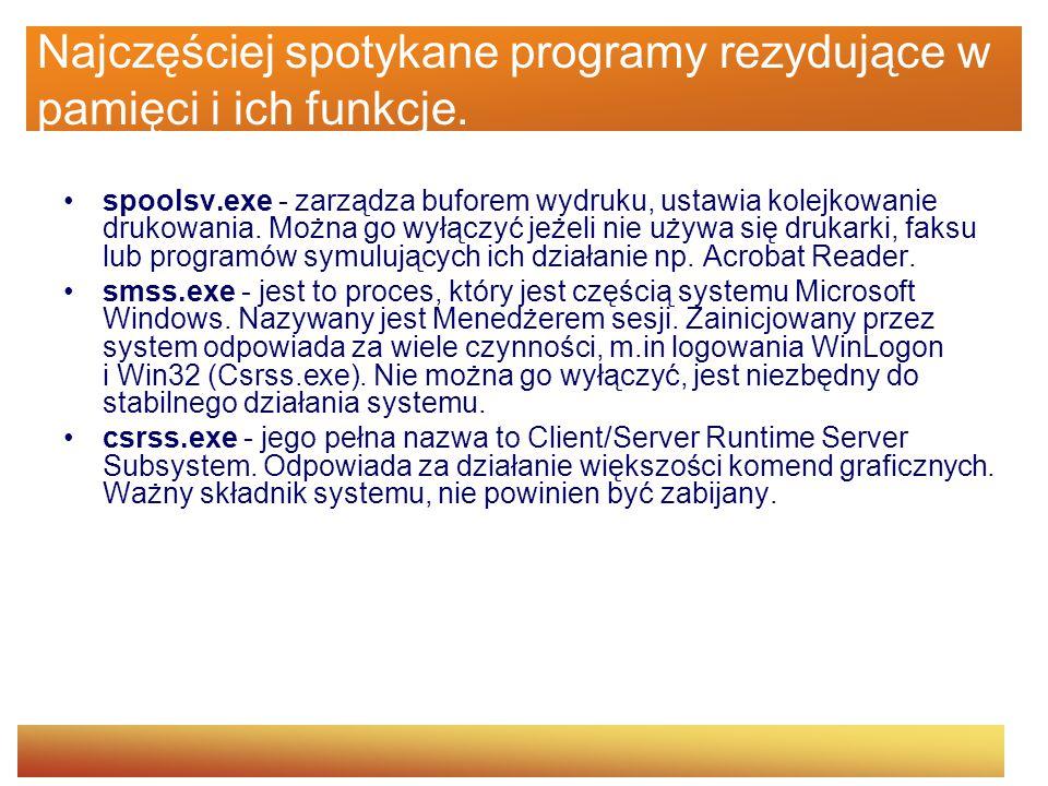 Najczęściej spotykane programy rezydujące w pamięci i ich funkcje. spoolsv.exe - zarządza buforem wydruku, ustawia kolejkowanie drukowania. Można go w