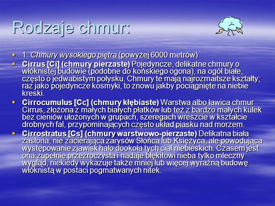 Rodzaje chmur:  1.