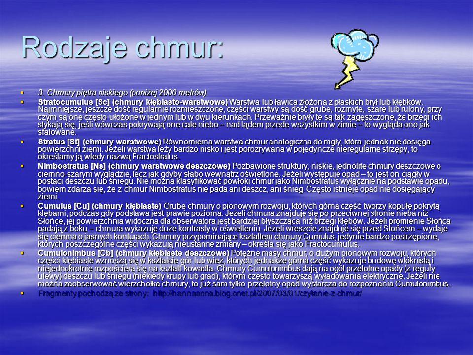 Rodzaje chmur:  3.