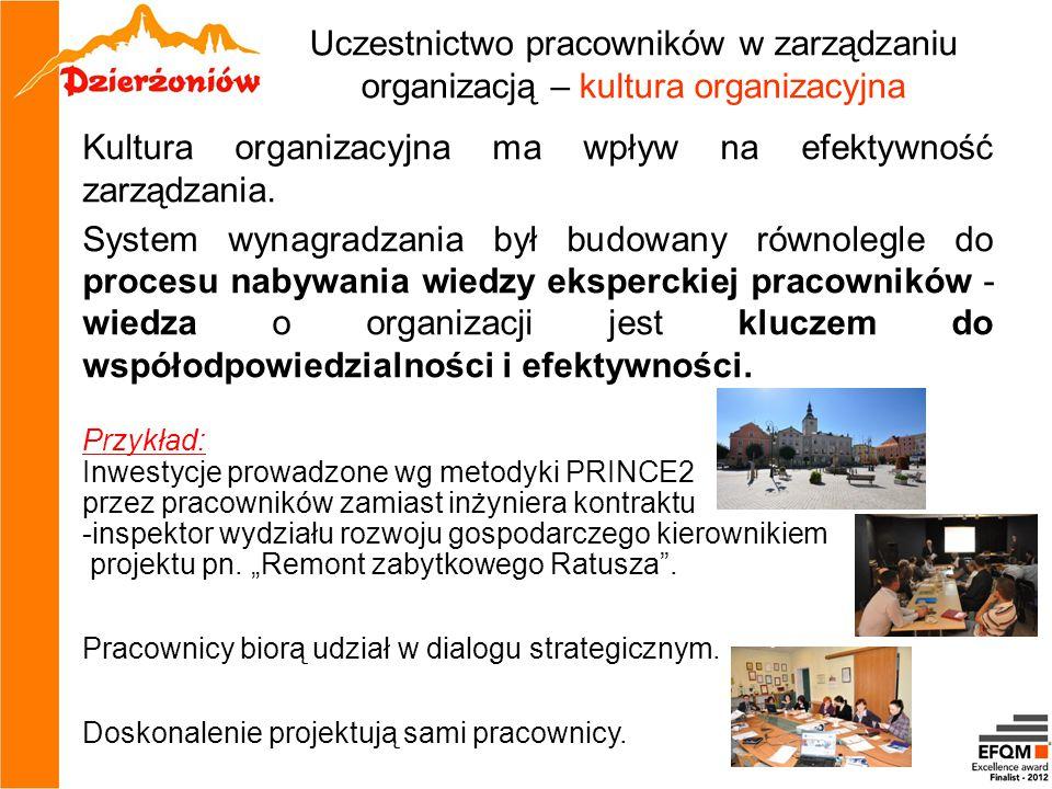 Uczestnictwo pracowników w zarządzaniu organizacją – kultura organizacyjna Kultura organizacyjna ma wpływ na efektywność zarządzania. System wynagradz