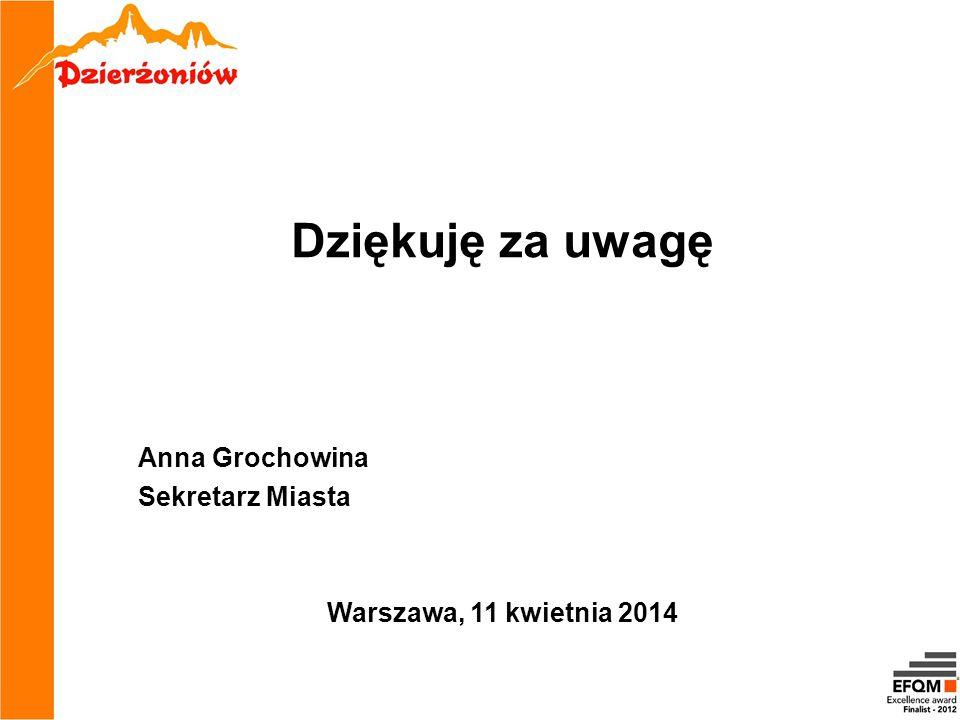 Dziękuję za uwagę Anna Grochowina Sekretarz Miasta Warszawa, 11 kwietnia 2014