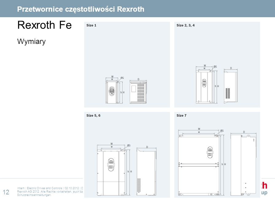 Rexroth Fe Wymiary Intern | Electric Drives and Controls | 02.10.2012 | DC-IA/SFS31 | Carsten Kobusch | Rexroth Frequency Converter Training 2012 EN C