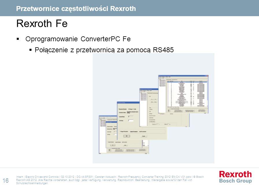 Rexroth Fe  Oprogramowanie ConverterPC Fe  Połączenie z przetwornicą za pomocą RS485 Intern | Electric Drives and Controls | 02.10.2012 | DC-IA/SFS3