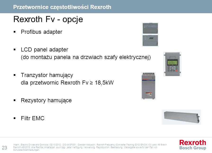 Rexroth Fv - opcje  Profibus adapter  LCD panel adapter (do montażu panela na drzwiach szafy elektrycznej)  Tranzystor hamujący dla przetwornic Rex