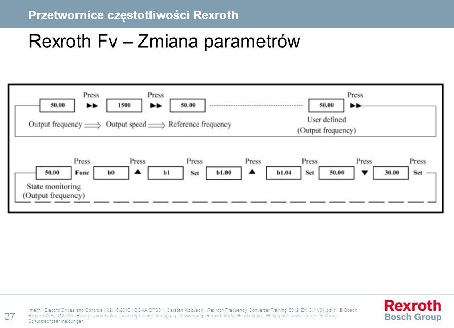 Rexroth Fv – Zmiana parametrów Intern | Electric Drives and Controls | 02.10.2012 | DC-IA/SFS31 | Carsten Kobusch | Rexroth Frequency Converter Traini