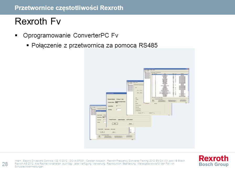 Rexroth Fv  Oprogramowanie ConverterPC Fv  Połączenie z przetwornicą za pomocą RS485 Intern | Electric Drives and Controls | 02.10.2012 | DC-IA/SFS3