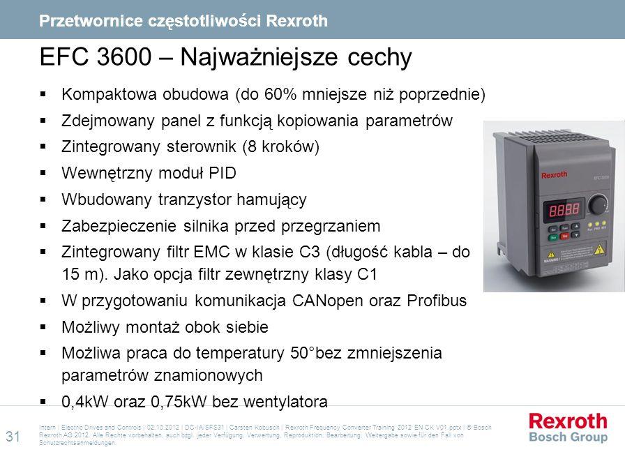 EFC 3600 – Najważniejsze cechy  Kompaktowa obudowa (do 60% mniejsze niż poprzednie)  Zdejmowany panel z funkcją kopiowania parametrów  Zintegrowany