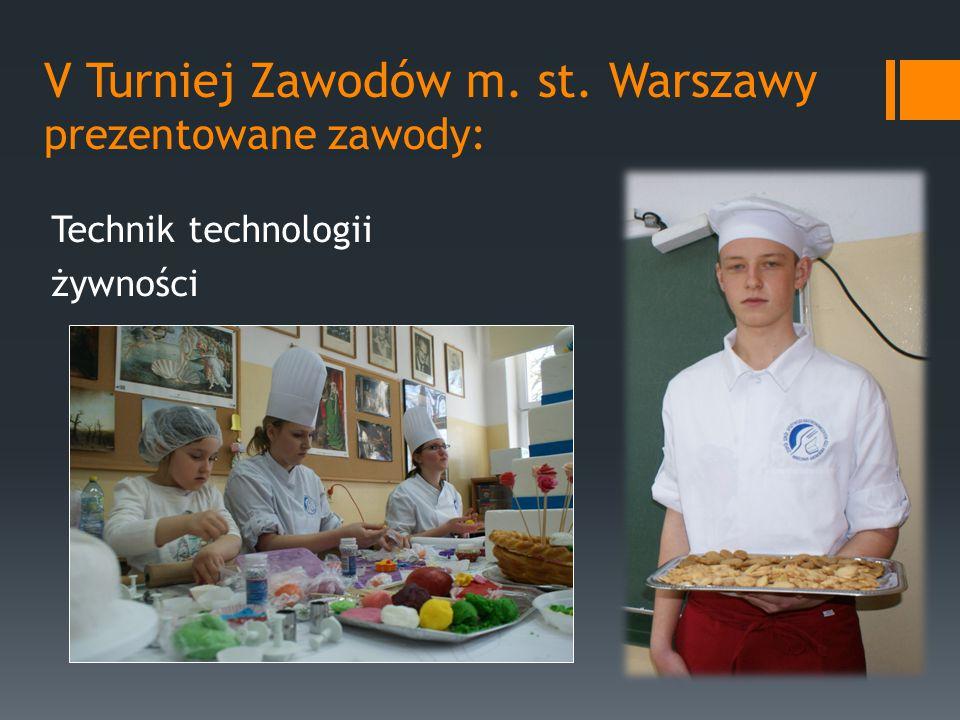 V Turniej Zawodów m. st. Warszawy prezentowane zawody: Technik technologii żywności