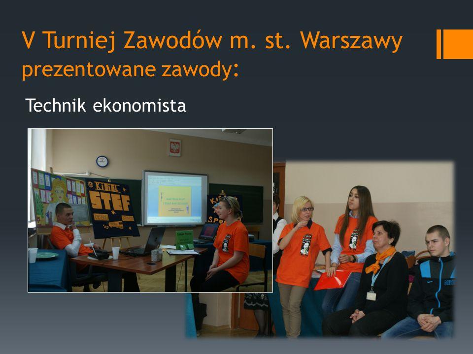V Turniej Zawodów m. st. Warszawy prezentowane zawody : Technik ekonomista