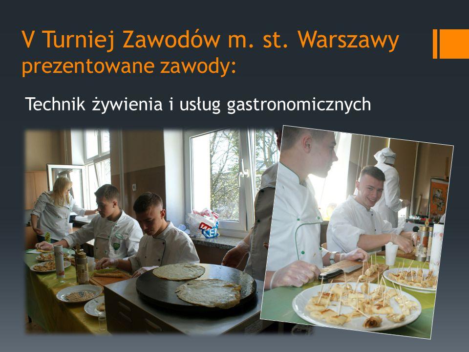 V Turniej Zawodów m. st. Warszawy prezentowane zawody: Technik żywienia i usług gastronomicznych