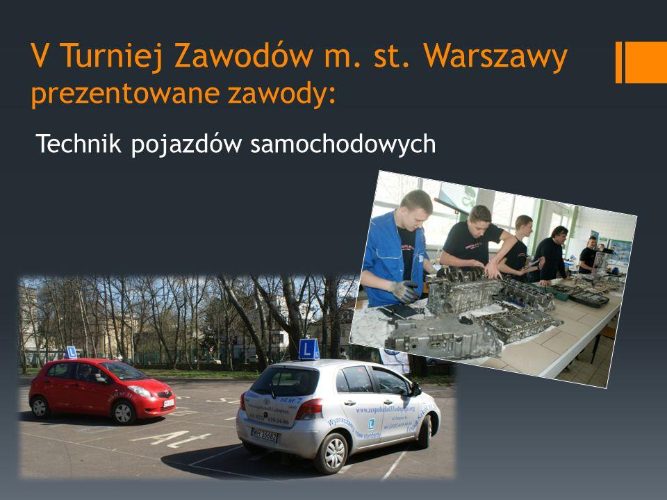 V Turniej Zawodów m. st. Warszawy prezentowane zawody: Technik pojazdów samochodowych