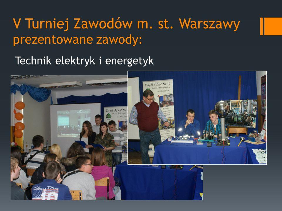 V Turniej Zawodów m. st. Warszawy prezentowane zawody: Technik elektryk i energetyk