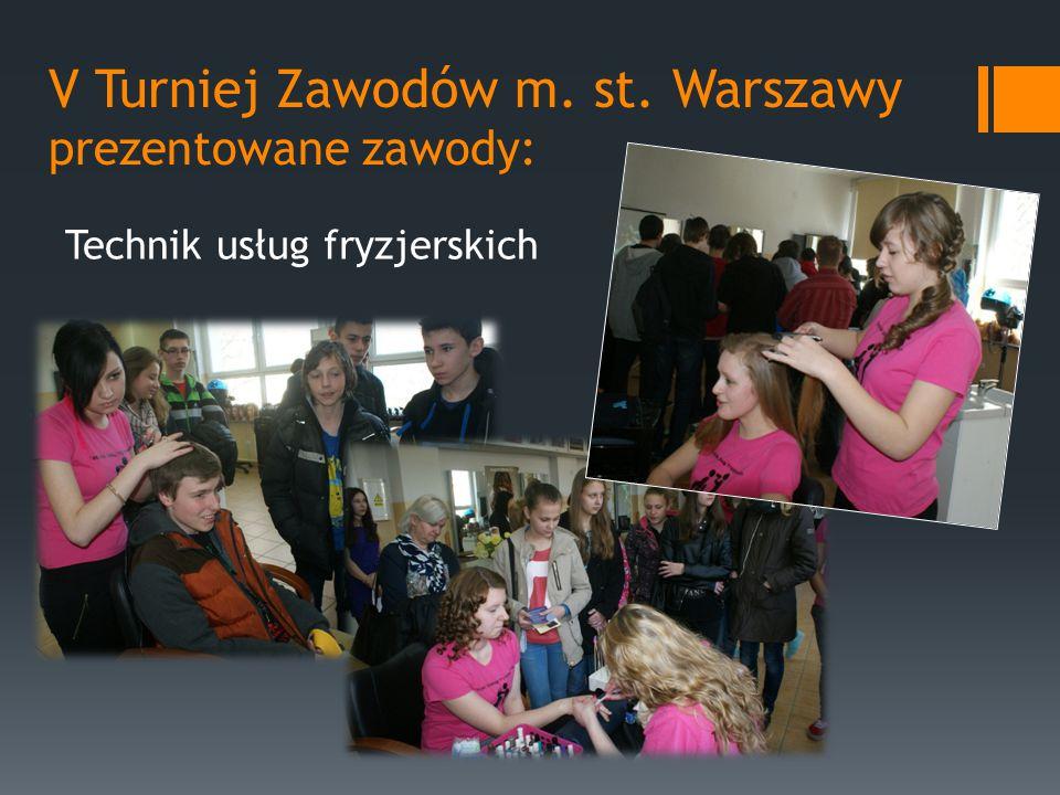 V Turniej Zawodów m. st. Warszawy prezentowane zawody: Technik usług fryzjerskich