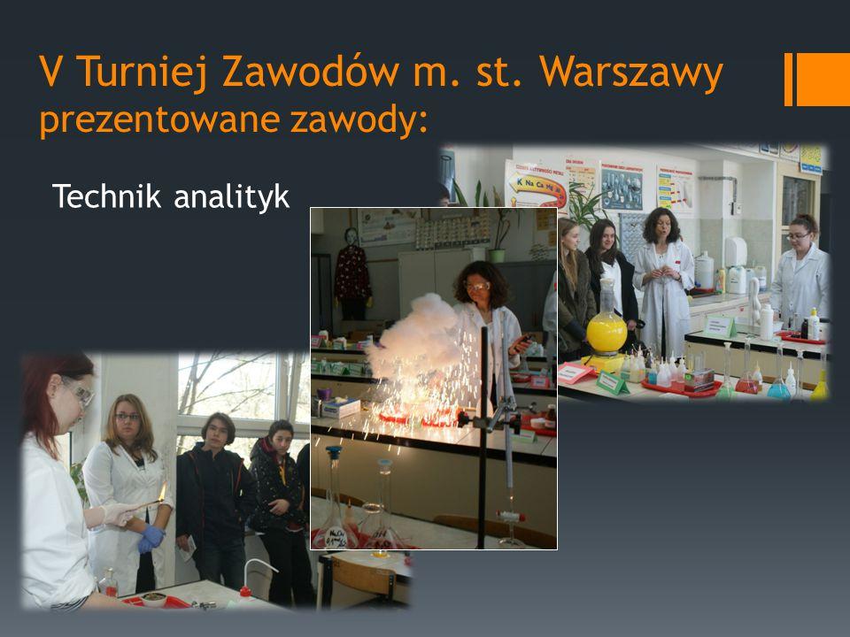 V Turniej Zawodów m. st. Warszawy prezentowane zawody: Technik analityk