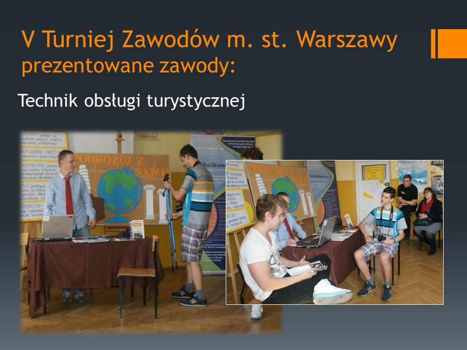 V Turniej Zawodów m. st. Warszawy prezentowane zawody: Technik obsługi turystycznej