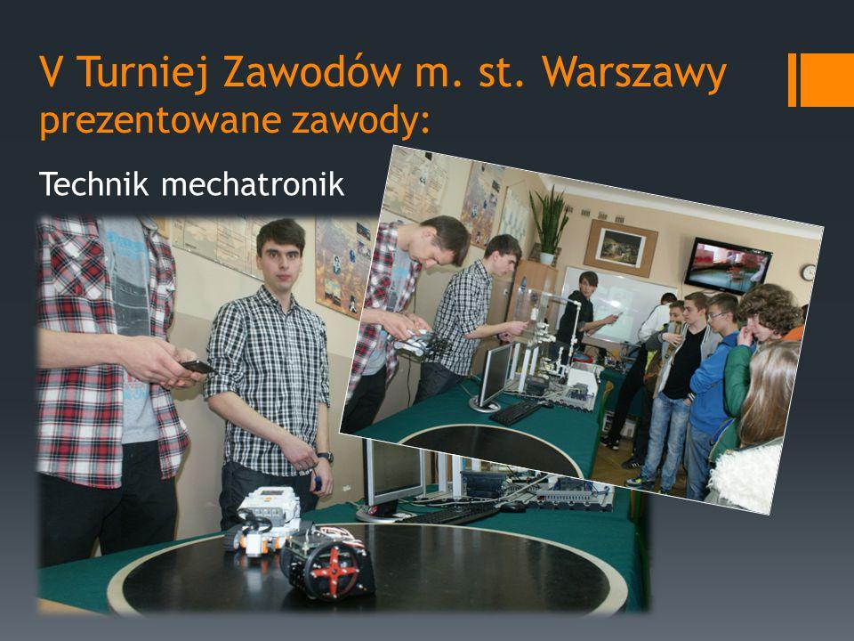 V Turniej Zawodów m. st. Warszawy prezentowane zawody: Technik mechatronik