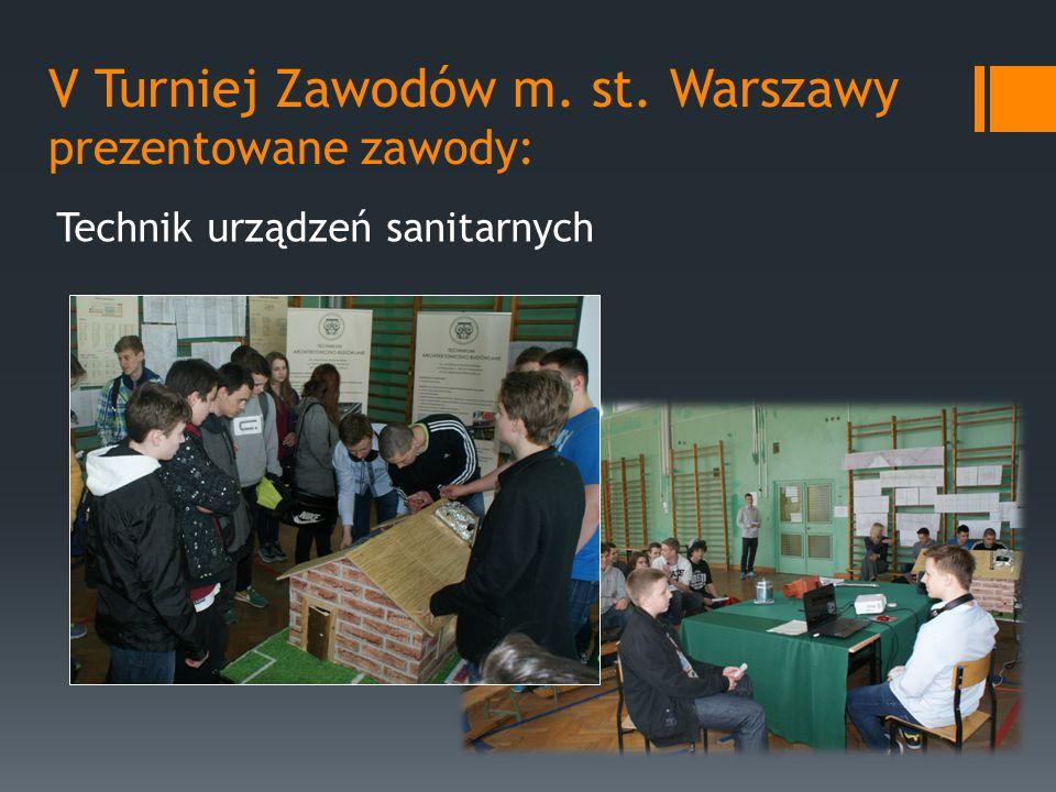 V Turniej Zawodów m. st. Warszawy prezentowane zawody: Technik urządzeń sanitarnych