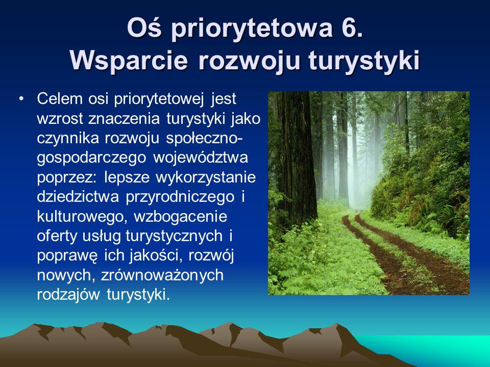 Oś priorytetowa 6. Wsparcie rozwoju turystyki Celem osi priorytetowej jest wzrost znaczenia turystyki jako czynnika rozwoju społeczno- gospodarczego w