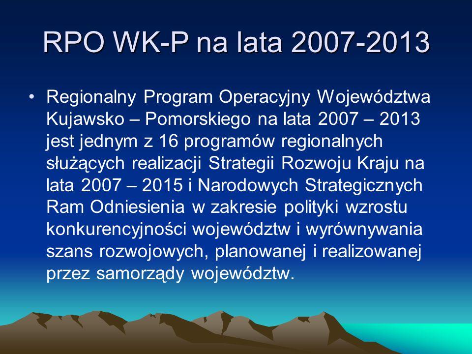 RPO WK-P na lata 2007-2013 Program realizowany jest na obszarze województwa kujawsko-pomorskiego przy udziale środków finansowych pochodzących z Europejskiego Funduszu Rozwoju Regionalnego, publicznych środków krajowych i środków prywatnych.