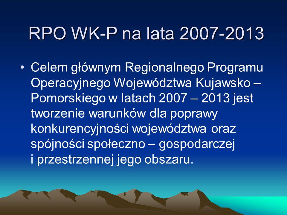 RPO WK-P na lata 2007-2013 Celem głównym Regionalnego Programu Operacyjnego Województwa Kujawsko – Pomorskiego w latach 2007 – 2013 jest tworzenie war