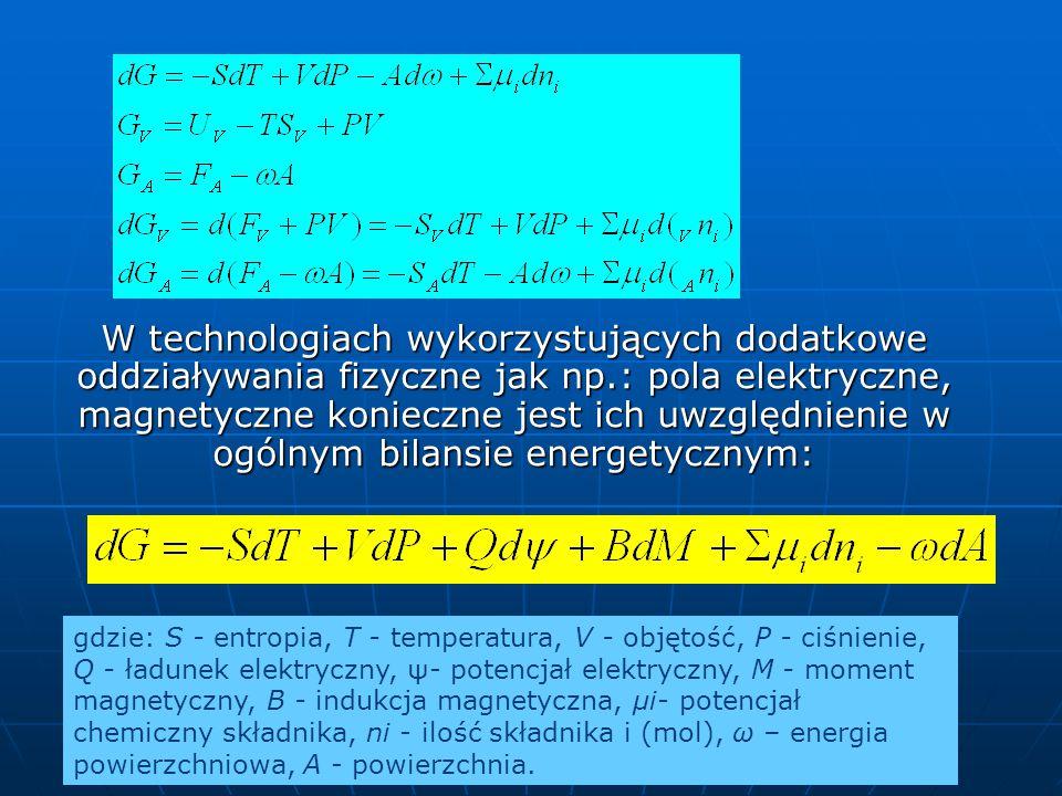 W technologiach wykorzystujących dodatkowe oddziaływania fizyczne jak np.: pola elektryczne, magnetyczne konieczne jest ich uwzględnienie w ogólnym bilansie energetycznym: gdzie: S - entropia, T - temperatura, V - objętość, P - ciśnienie, Q - ładunek elektryczny, ψ- potencjał elektryczny, M - moment magnetyczny, B - indukcja magnetyczna, μi- potencjał chemiczny składnika, ni - ilość składnika i (mol), ω – energia powierzchniowa, A - powierzchnia.